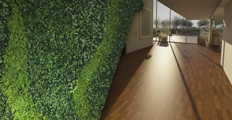 pisos laminados con muros verdes