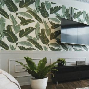 tapiz vnílico estampado hojas verde